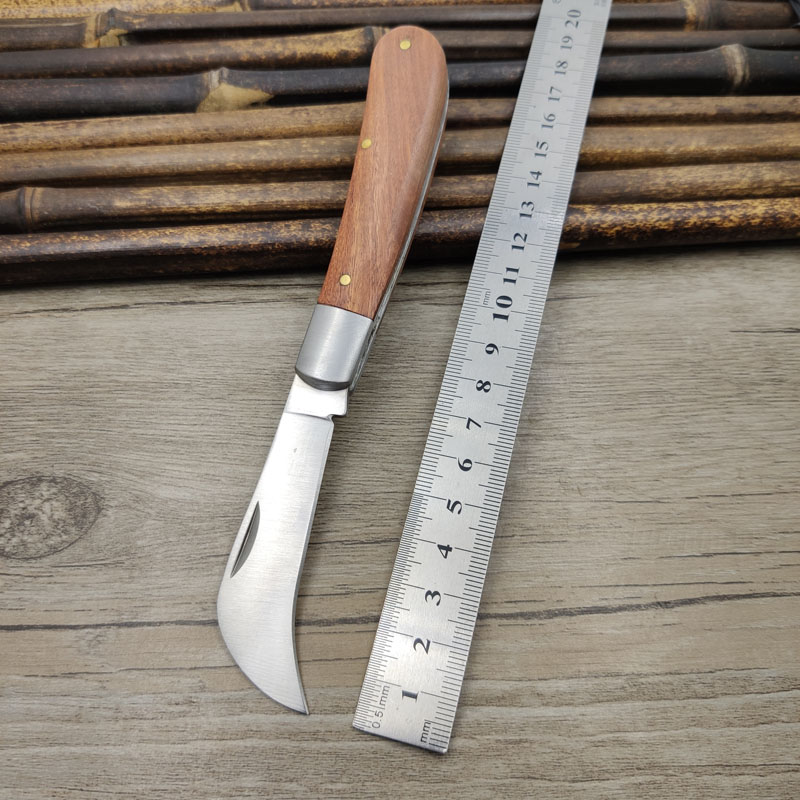 Stainless Steel Solid Wood Handle Portable EDC Sickle Electrician Knife Folding Utility  Tool Knife