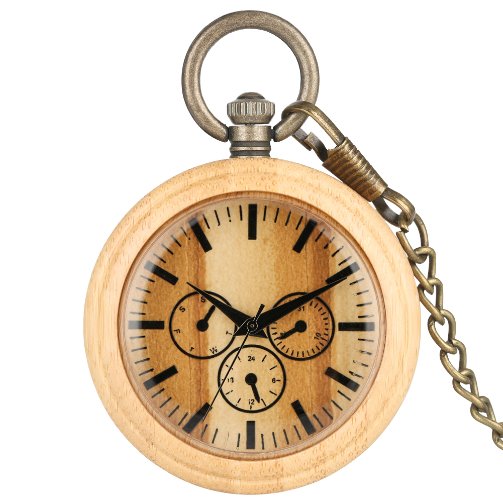 Large Bamboo Pocket Watch For Men Brown Round Dial Women Watches Necklace Utility Bronze Rough Chain Zegarek Kieszonkowy