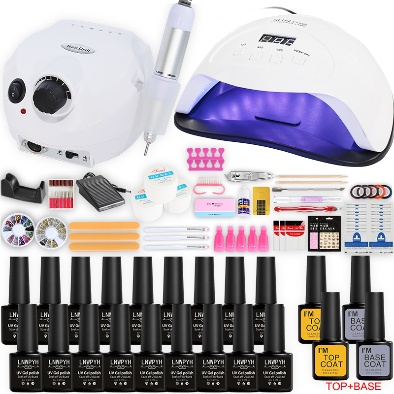 Nail Kit For Manicure Set Gel Nail Polish Set With 30000/20000RPM Nail Drill Machine Nail Lamp Nail Art Tools Nail Salon