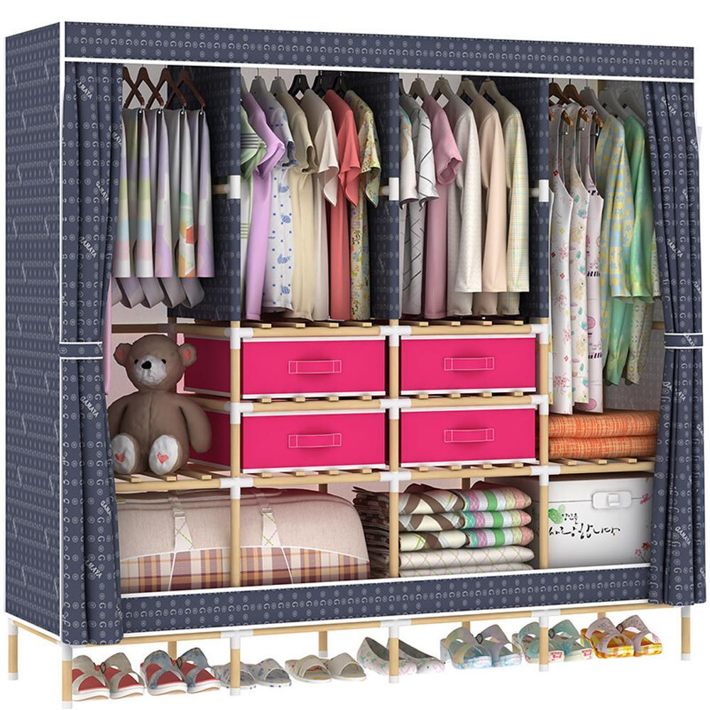 Huge Wooden Portable font b Closet b font 4 Rods Bedroom Wardrobe Storage Rack Kit Long