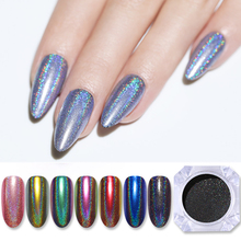 Holographic Powder Laser Silver Nails Glitter Chrome Nail Powder Dazzling Shimmer Gel Polish Flakes for Manicure Pigment