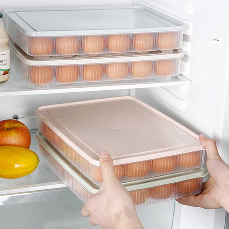 24 กริดสะดวกไข่กล่องเก็บอาหารห้องครัวตู้เย็นAnti-Collisionถาดคอนเทนเนอร์อุปกรณ์เสริมกรณี
