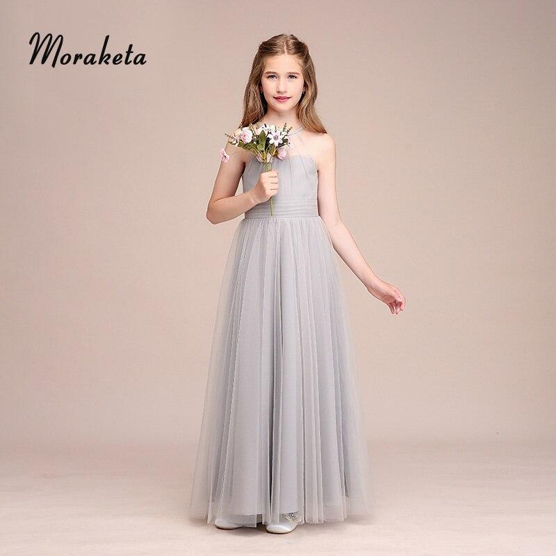 Licou dos nu a-ligne-parole longueur Tulle longues robes de demoiselle d'honneur pour mariage 2019 été gris robes de demoiselle d'honneur Junior