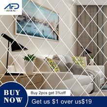 Diamonds Stickers Wall-Mirror Acrylic Living-Room Home-Decor Triangles for Kids DIY 32/58pcs
