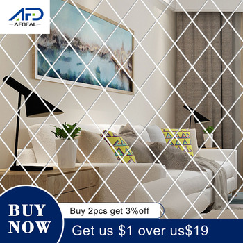 58Pcs DIY 3D Mirror Wall Stickers Diamonds Triangles Acrylic Wall Mirror Stickers for Kids Room Living Room Home Decoration