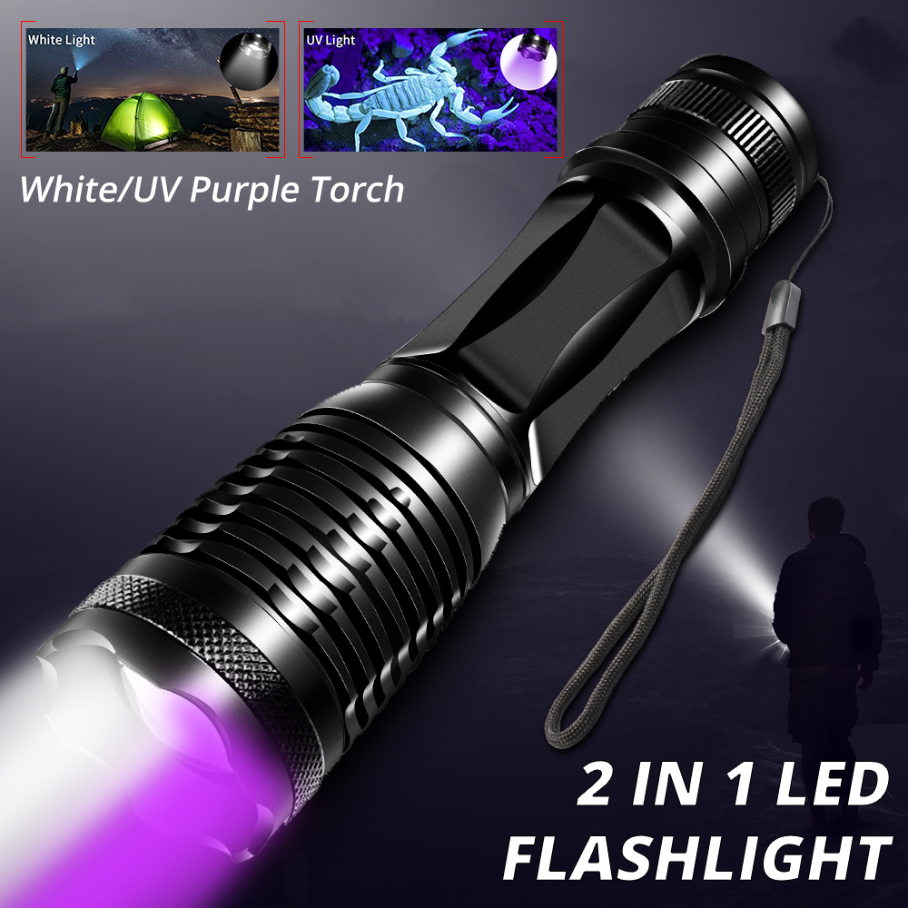 2in1 UV Flashlight White LED Torch Linternas 395nm Ultraviolet Urine Detector Camping Pet Urine Catch Scorpions USB Rechargeable image