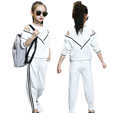 hot Spring autumn white girls sport suit for girl shoulder off  kids suit set casual two-piece  tracksuit children clothing