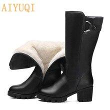 AIYUQI 2019 Long Boots Women Winter New Natural Wool Warm Waterproof Snow Shoes Heels