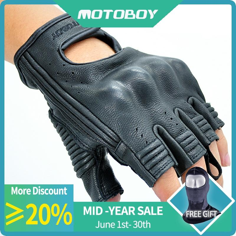 New Motoboy Motorcycle Gloves Mitt Glove Half Finger Fingerless Cycling Leather Summer Mitten Electric Bike Racing Cycling