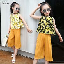 Summer 2019 Teenager Girls Clothing Chiffon Sleeveless Top + Pants Set Childrens Clothes for 3 5 6 7 8 10 12 14 Years Old