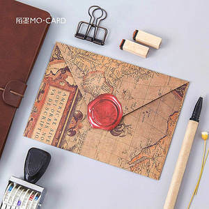 Sticker Paper-Envelopes Blank Kraft Wedding-Invitation Classical-Color Sealing-Wax 40pcs