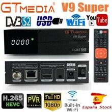 GTmedia V9 супер HD 1080p ТВ тюнер DVB S2 с 1 год 7 кабель для монитора адаптер USB2.0 тюнер приемник спутниковый декодер Dvb S2