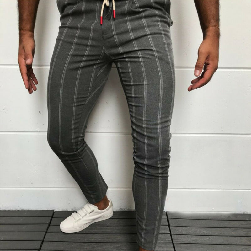 Men Chinos Trousers Skinny Super Stretch Chino Homme Clothing Slim Fit Chinos Trousers For Men Plaid Grey Designer Pants