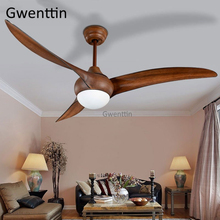 купить 52inch Modern LED Ceiling Fan with Lights Remote Control for Living Room Bedroom Home Loft Industrial Decor Wooden Fan Lamp 220V дешево
