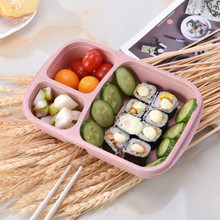 Wheat 3 Grid Lunch Box Picnic Food Container Food Storage Box Case Children Bento Box Adult Kids Lunch Box Container Organizer