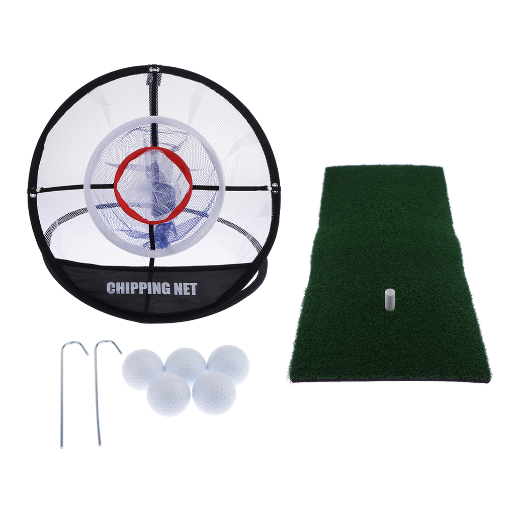 Golf Net & 5 Golf Balls And Grass Mat - For Backyard Practice Chipping, Driving, Hitting Balls - Easy To Carry And Use
