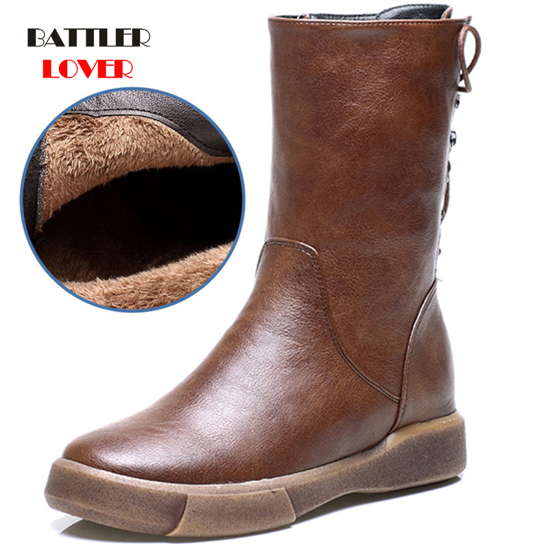 Martin Boots Womens Warm Winter Shoes Waterproof Super Star Shoes Mid Calf Boots for Women Sewing Non slip Botas Mujer Invierno image