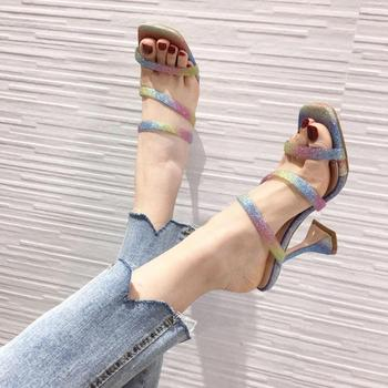2020 New Summer Shoes Women Slides Square Toe Sandals Ladies Rainbow Glitter High Heels Slippers Female Fashion