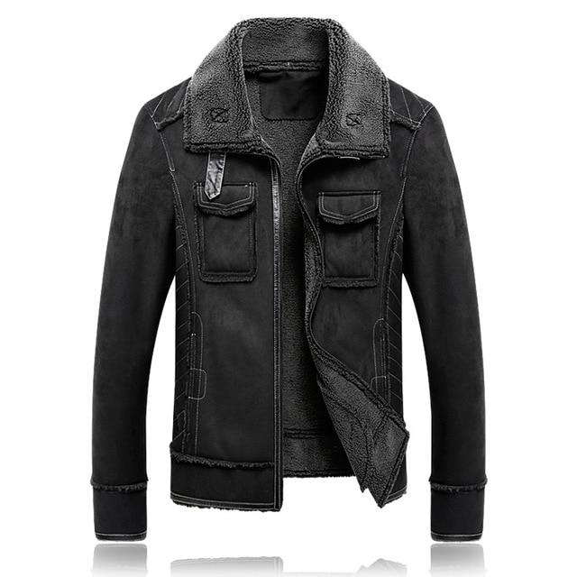 Plus size 5XL Winter Thick Leather Coat Men Casual flocking Leather Jacket Men's Warm Motorcycle leather Jackets Coats Black