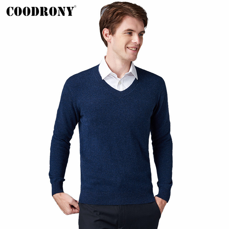 COODRONY Brand Pure Merino Wool Sweater Men Classic V-Neck Pull Homme Autumn Winter Thick Warm Soft Cashmere Pullover Men 93023