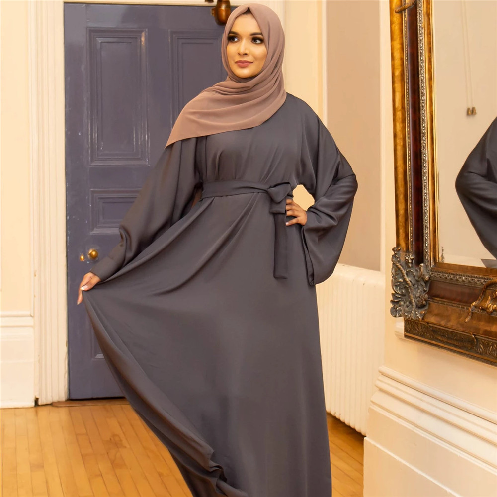 Muslim Fashion Dresses Islamic Women's Clothing Middle East Turky Solid Color Plus Size Long Dress Muslim Casual Arabic Dress 4
