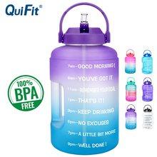 Quifit 2.5l 3.78l plástico boca larga galão garrafas de água com palha bpa livre esporte fitness turismo ginásio viagem jarros suporte do telefone