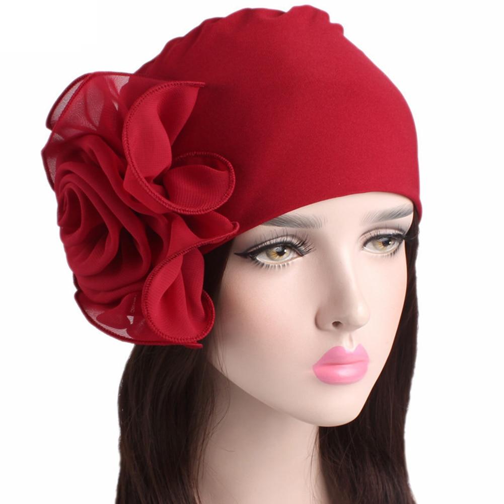 2020 frauen Neue Große Blume Stretch Schal Hut Damen Elegante Mode Haar Zubehör Chemo Hut Frauen Turban Bandanas Großhandel