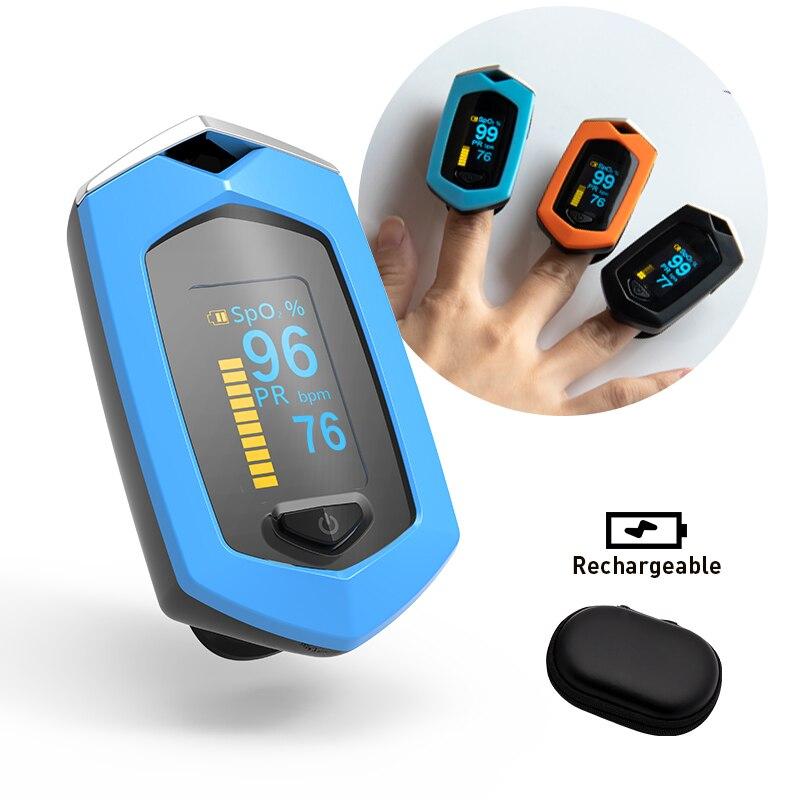 Boxym médico recarregável dedo oxímetro de pulso digital de dedo spo2 pr oled ce pulsioximetro monitor de freqüência cardíaca
