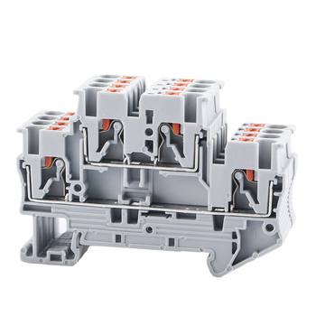 Din Rail Terminal Block PTTB-2.5 Electrical Connector Double Layer Spring Wiring Connection Wire Conductor 10pcs Terminal Block din rail terminal block uk 2 5b wire electrical conductor universal connector screw connection terminal strip block uk2 5 10pcs