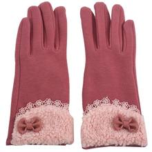 New lady winter glove bow lace elegant warm fashion glove female touch sn glove Leather Pink(China)