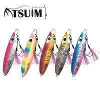 Atsuim Glow Sinking  Jigs Slow Metal Jigging Lure With Hooks Luminuous 60g80g100g150g200g250g300g Lead Fish Falling Fishing Lure|Fishing Lures| |  -