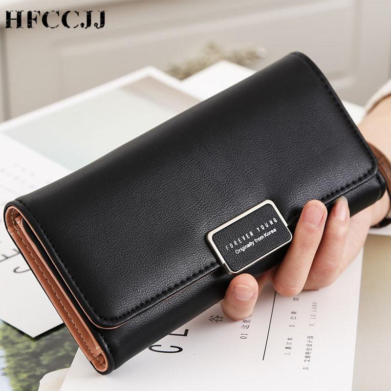 NEW Women's Wallet Ladies Leather Purses Hasp Clutch Long Zipper Phone Holder 2019 Female Wallets Coin Pocket Card Money HC132