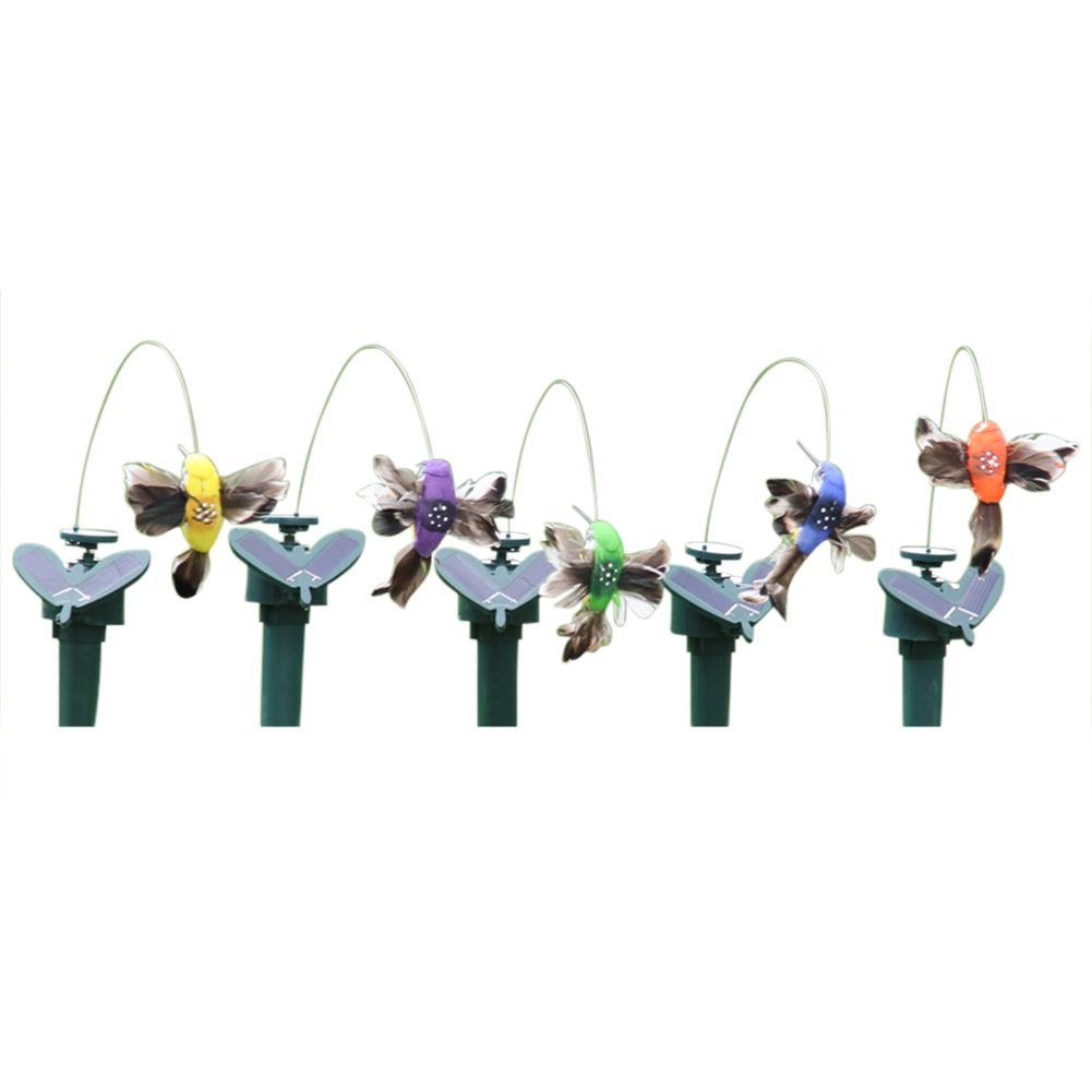 Купить с кэшбэком Solar Hummingbird Power Vibration Dancing Fly Fluttering Birds For Garden Yard Decorative Stake Flying Fluttering Decoration toy