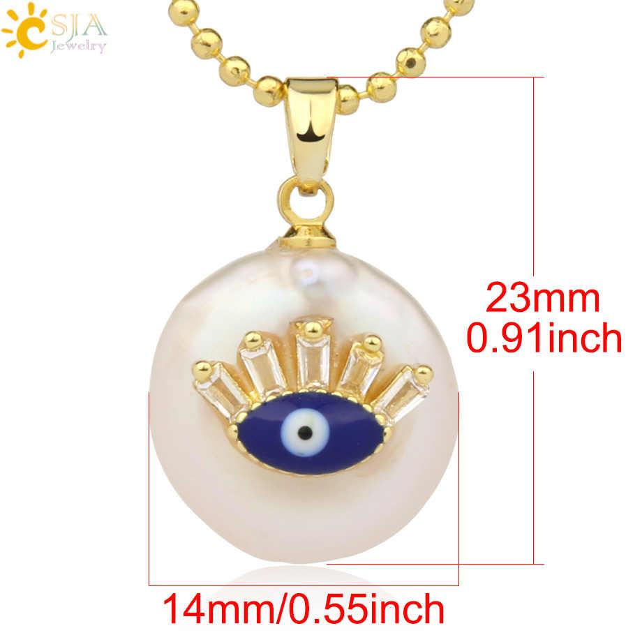 CSJA เหรียญไข่มุกน้ำจืดจี้ขนาดเล็ก Evil Eye Hamsa Fatima มือ Zircon สร้อยคอ Choker สำหรับผู้หญิง g205