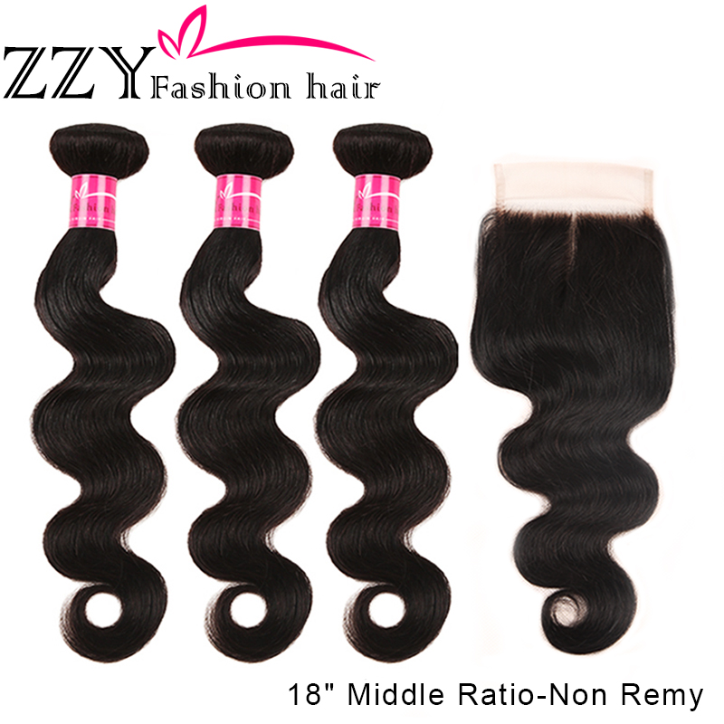 ZZY Fashion Hair Brazilian Body Wave Bundles With Closure M Ratio Non-Remy Human Hair Weave Bundles With Closure