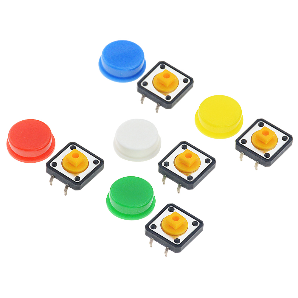 5PCS 12x12x7.3 Mm Tactile Switches Square Push Button Tact Switch 12*12*7.3 Mm Micro Switches With Round Cap