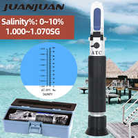 Concentration tenue dans la main de réfractomètre de salinité 0-10% pour l'essai d'eau salée de salinité d'aquarium avec le salinomètre de boîte au détail 37% de réduction