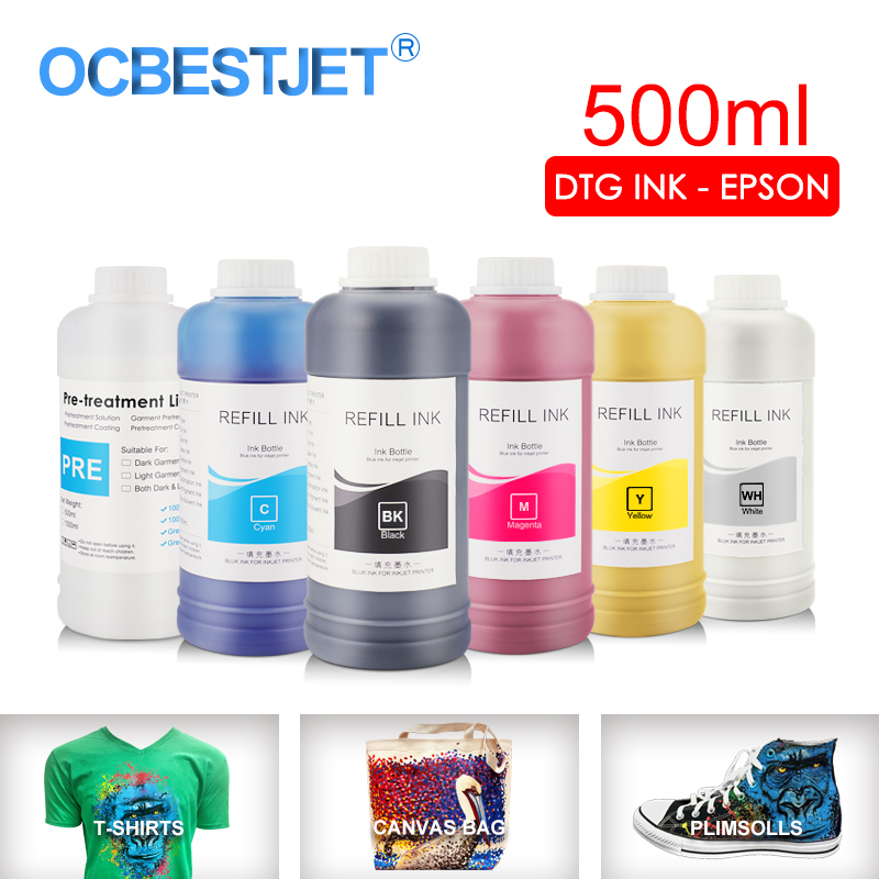 500ML/Set DTG Ink Textile InK Garment Ink For <font><b>Epson</b></font> DX5 DX7 R330 1390 1400 R1900 R2000 <font><b>F2000</b></font> F2100 (BK C M Y White Pretreatment) image