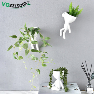 HOT Tree Man Flower Pot Planters for Plants Nordic Plant Pot Wall Modern Pot Plant Wall Pots Wall Flowerpot Cute White Planter(China)