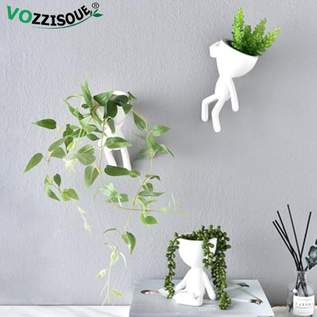 Sıcak ağaç adam saksı yetiştiricilerinin bitkiler için İskandinav saksı duvar Modern Pot bitki duvar tencere duvar saksı sevimli beyaz ekici