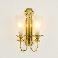 1 2 arme Kupfer Vill halle wand lampe indoor Wand beleuchtung abajur Glas lampenschirm Esszimmer Schlafzimmer Mittelmeer wand leuchte-in LED-Innenwandleuchten aus Licht & Beleuchtung bei