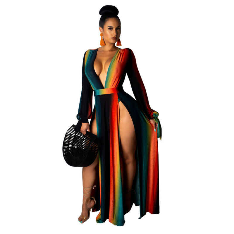 נשים V העמוק צוואר ארוך שרוול גבוהה סדק Bodycon ערב המפלגה שמלת מקסי שמלת 2019 חורף שמלה
