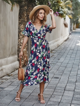 Sexy v-neck floral print long dress Elegant Short sleeve female maxi dress Summer Casual wrap ruffle sash beach ladies dresses cuerly ruffle floral print button short dress women summer elegant casual loose dress female sexy daily beach dress vestidos l5