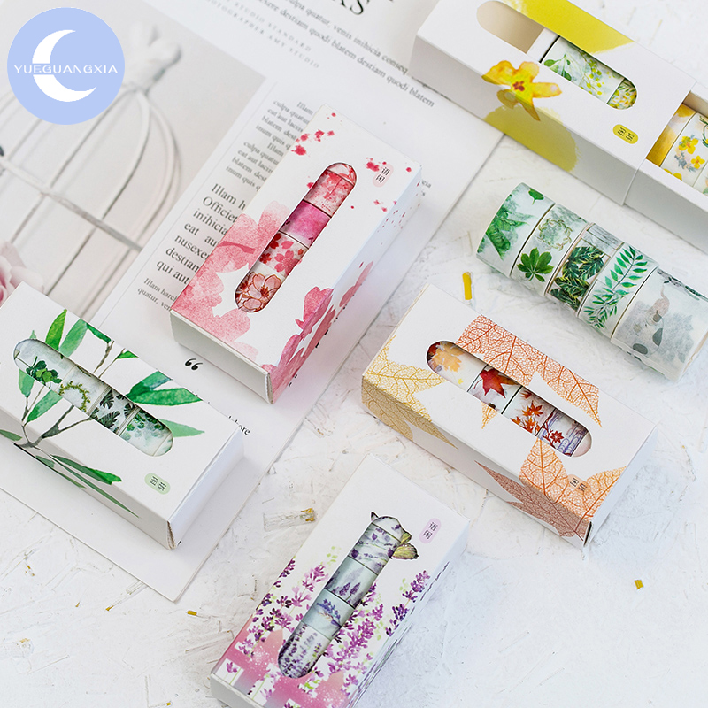 YUEGUANGXIA 5pcs/box Peach Bamboo Maple Leaf Washi Paper Tapes Bullet Journaling Deco Sticker Tape Masking Tapes 8 Designs