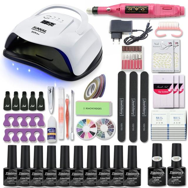 Manicure Set For Nail Kit 80W UV Lamp Dryer Nail Set with Nail Drill Machine 10pcs Nail Gel Polish Soak Off Manicure Tool Kit
