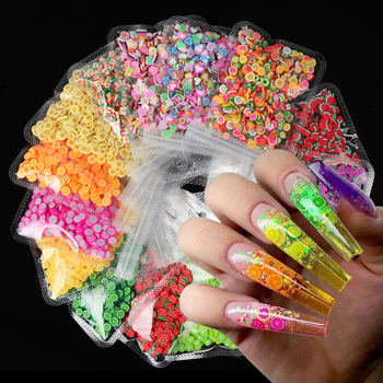 1 Bag 3D Colorful Tiny Fruit slices Sequins for Nails DIY Design  Acrylic Beauty Polymer Clay Nail Art Accessories 3d multi designs 1000 pcs 1 bag fruit slices nail art diy designs nail art slices for slicing nail art decoration pb10 1 32