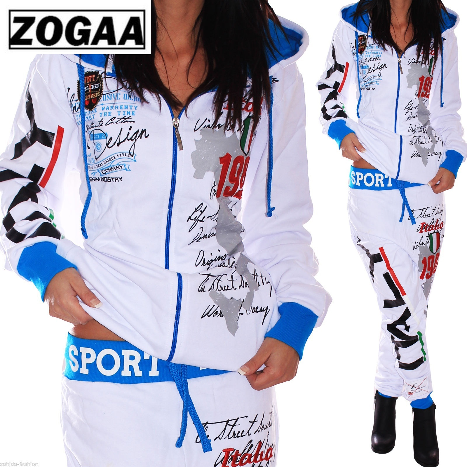 ZOGAA 2019 Spring New 7color Women Fashion 2 Parts Hooded Sweatshirt And Pants Set Tracksuit Sportswear Women Suit Matching Sets