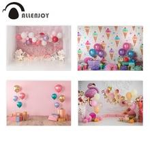Allenjoy торт разбивать 1 й День рождения фотографии фон мороженое воздушный шар новорожденный розовый фото фон детский Фотофон