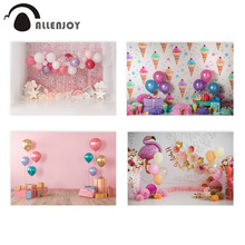 Allenjoy cake smash 1st birthday photography backdrop ice cream balloon Newborn Pink photo Background Baby photobooth photocall
