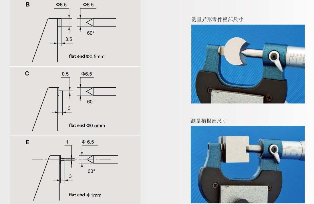 Única lâmina do micrômetro do ponto da